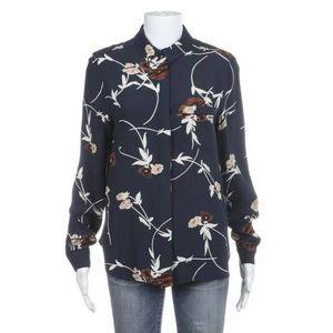 Ganni blue button down floral shirt 34 Small top